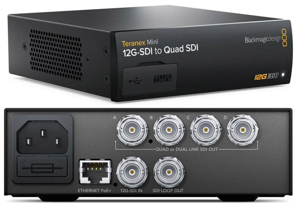Blackmagic Teranex Mini 12G-SDI to Quad SDI